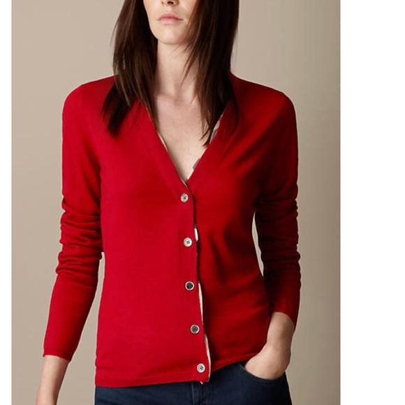 b1c1efb4526c5 Burberry Sweaters - Burberry Brit red merino cardigan w check placket